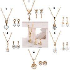 18K Gold Water Drop Flower Cat CZ Pendant Necklace & Earrings Jewellery Set UK