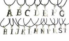 Collana CON INIZIALE Personalizzato Lettera Alfabeto Ciondolo Corda Ciondolo Argento Nero Regno Unito