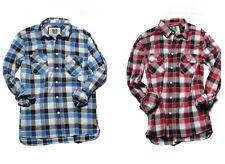 RVLT REVOLUTION David Shirt Uomo Camicia Manica Lunga dayshirt Rosso Blu A Quadri Camicie