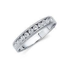 14k Solid White Gold 4mm Round Cut Diamond Milgrain Men's Wedding Band Ring