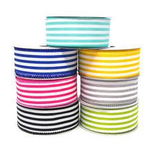 Cabana Stripes Satin Wired Ribbon, 10 Yards