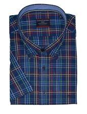Casa Moda Premium Cotton Button Down Collar Navy Red Check Shirt,Size XXL-5XL