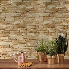 Wallpaper wallcoverings textured roll beige brown modern stone faux sandstone 3D