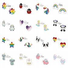 925 Sterling Silver Stud Earrings Unicorn Rainbow Heart Dog Star Girls Kids