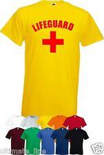 LIFEGUARD + CROSS YELLOW T SHIRT TOP BEACH FANCY DRESS CUSTOM COLOUR TSHIRT