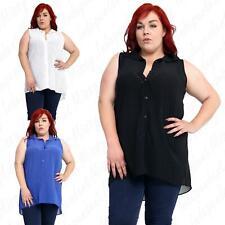 Womens Ladies Plus Size Chiffon Button Sleeveless Uneven Hem Top Shirt 14-28