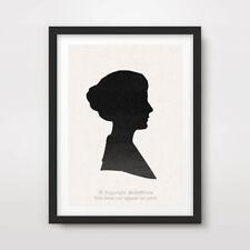 Silueta de cabeza Victoriano Art Print cartel vintage camafeo retrato de niñas A4 A3 A2