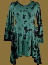Gothic Victorian Psy Pagan Kleid Tunika Longshirt Ruffle schwarz grün lila 40 42