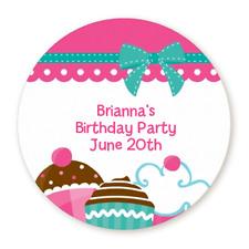 Cupcake Trio Pink Aqua - Round Personalized Baby Shower/Birthday Sticker Labels