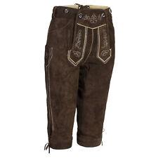 Damen Trachten Lederhose Kniebundhose m.Trägern dunkelbraun lang Gr.34 bis 50