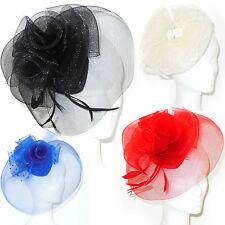 Cappello cerimonia fascinator piume veletta nero rosso blu bianco sposa D0609