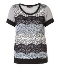 Yest T-Shirt Damen große Größen mit Spitze warm Blau / Beige 44 46