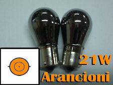KIT COPPIA LAMPADINE LAMPADE CROMATE ARANCIONI FRECCE 21W BA15S W21W SIMMETRICI