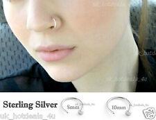 ARGENTO Sterling Piccolo sottile aperto Naso Anello Hoop 0,6 mm Cartilagine piercing delicato