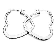 Silver Heart Hoop Sleeper Earrings Triangle UK  20mm - 40mm