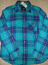 NWT AMERICAN EAGLE Boyfriend Shirt Button Front Teal Plaid