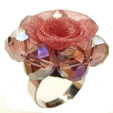 Bague Fleur perle Cristal organza VIEUX ROSE réglable Taille 54 56 58 60 62 64
