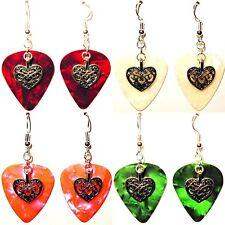 Heart Deco Charm Guitar Pick Earrings - Choose Color - Handmade in USA