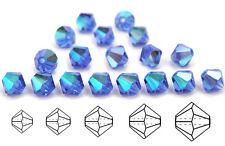 Czech MC Glass Bicone Beads (Rondell/Diamond) Sapphire AB, blue AB coated