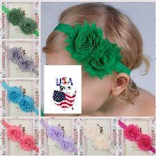 Baby Toddler Girls Kids Shabby Chic Double Flower Elastic Headbands Hairbands