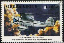 Wiley Post LOCKHEED VEGA Winnie Mae Aircraft Mint Stamp (1999 Sierra Leone)