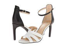 JESSICA SIMPSON MASELLI SOFT WHITE/BLACK STRAPPY HEEL WOMEN Sizes 8-9.5