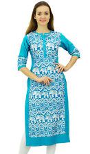 Phagun Women's Designer Straight Blue Kurta 3/4 Sleeve Printed Casual Kurti