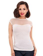 White Lace Top - 1950s Retro Style - Polka Dot Ivory Wedding Summer 8 10 12 14