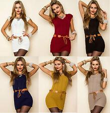Damen Kleid Strickkleid Strick Minikleid mit Gürtel Longpulli Longshirt neu 588