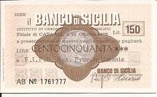 25-10-1976 BANCO DI SICILIA CATANIA MINI ASSEGNO L. 150 ALLA F.I.P.E. - F.D.S.