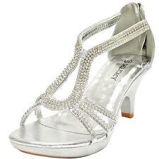 New women's shoes evening rhinestones back zipper med heel wedding prom Silver
