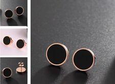 Women Rose Gold Titanium Stainless Steel Onyx Black Round Stud Earrings Jewelry