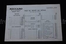 E563 MECCANO 4 pages PRIX DE VENTE AU DETAIL Septembre 1958 A.403.0 ++