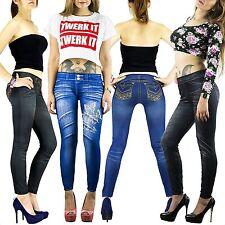 Damen Jeans Optik Leggings Hose Jeggings Treggings Leggins XS S M L XL XXLAr6.1