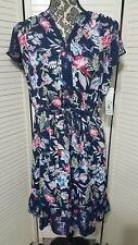 Massini misses plus dark blue floral ruffled dress NWT M 3XL