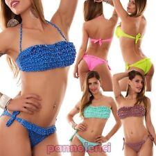 Bikinifrau badeanzug band tupfen RÜSCHEN zwei teile bandeau- neu B2509