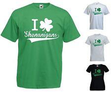 I LOVE SHENANIGANS T-SHIRT - IRELAND IRISH FUNNY ST PATRICK SHAMROCK CLOVER