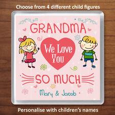 Grandma We Love You Personalised Coaster Gift From 2 Children Xmas Birthday