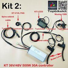 Ebike KT Controller Kit 36V/48V 500W + LCD3+108X throttle+KT-V12L+Brake+ extend