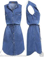 nuovo donna Lungo Camicia Di Jeans Abito Donne Jean Vestiti Taglia 8 10 12 14