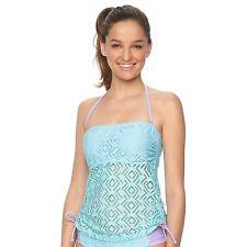 So Size XS S M  XL Aqua Purple Crochet Strapless Bandeau Tankini Halter Swim Top