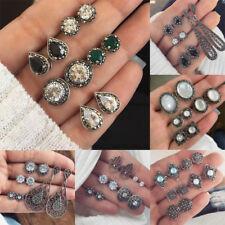 12Pair Elegant Women Rhinestone Crystal Pearl Earrings Set Jewelry Ear Stud Gift