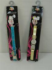 Collare regolabile CANI AMICI VANITY 20-30 cm 10 mm Azzurro Glitter Dorato M204