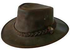 Mens Explorer Brown Aussie Style Leather Bush Hat e5c0771768ed