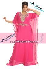 Pink DUBAI ABAYA KAFTAN Hijab Muslim Islam Wedding Dress *USA SELLER* MDfhs17