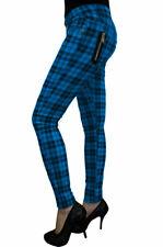 Blue Tartan Check Skinny Emo Punk Rockabilly Stretch Trouser By Banned Apparel