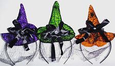 HALLOWEEN MINI WITCH HATS GREEN PURPLE OR ORANGE WITH VEIL