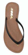 Soda Shoes Women Flip Flops Basic Plain Sandals Strap Casual Beach Black FELER