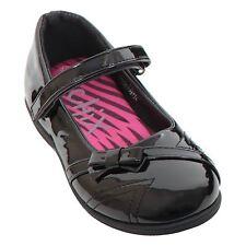Girls Zig Zag Stitch Thin Strap Back To School Patent Smart Kids Flat Shoes