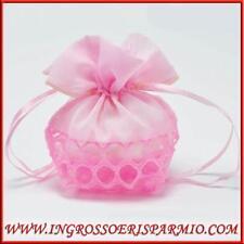 Sacchetti porta confetti in organza rosa bomboniere nascita bimba 13x10cm